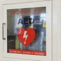 closeup of an AED