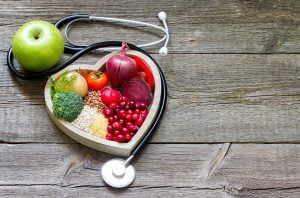 healthy foods inside heart